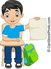 papier, étudiant, tenue, dessin animé, garçon, vide