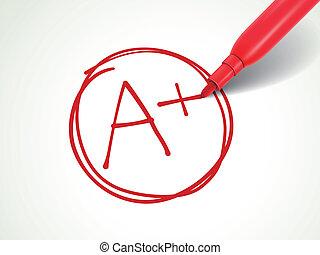 papier, évalué, stylo, plus, rouges