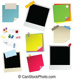 papier, 스티커, postit, 저명, phot