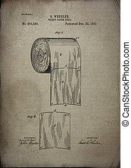 papier, 1891, rol, toilet, octrooi