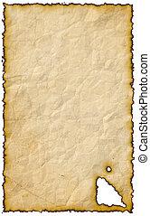 papier, aangebrand