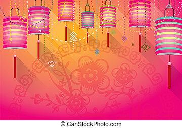 papier, abstract, lantaarns, bac, chinees