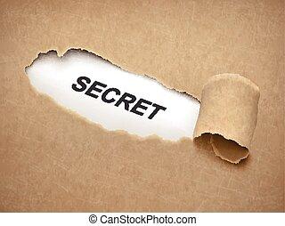 papier, achter, gescheurd, woord, geheim