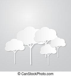 papier, achtergrond, bomen, grijze , knippen, witte