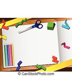 papier, achtergrond., knippen, 3d, desktop