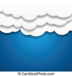 papier, achtergrond, wolken
