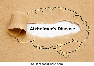 papier, afgescheurde, concept, ziekte, alzheimers