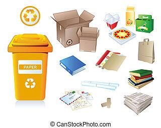 papier, afval, en, restafval