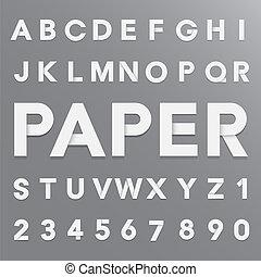 papier, alfabet, schaduw, witte