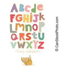 papier, alfabet, vector, origami, kat