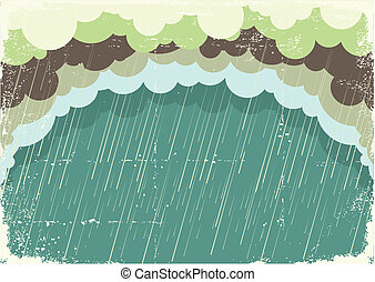 papier, altes , abbildung, wolkenhimmel, hintergrund, regnen...