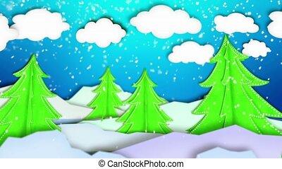 papier, arbres hiver, paysage, scène
