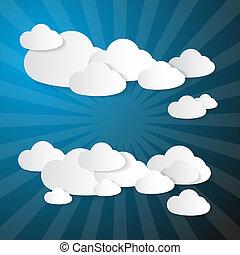 papier, arrière-plan bleu, nuages, vecteur, fait