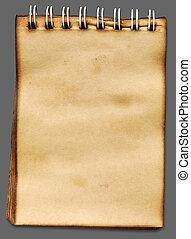 papier, arrière-plan gris, vieux, ombre, cahier