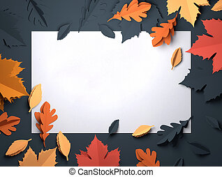 papier, art, -, automne, feuilles autome, fond