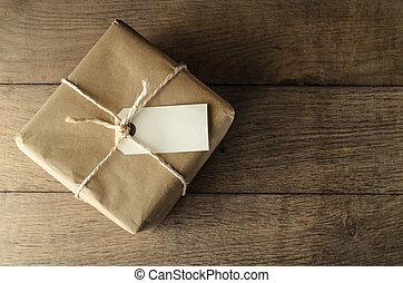 papier, attaché, brun, vide, ficelle, étiquette, paquet