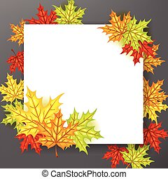 papier, automne, fond, pousse feuilles