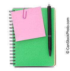 papier, avis, cahier, stylo