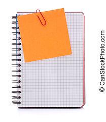 papier, avis, cahier, vérifié, vide