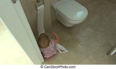 papier, bébé, jouer, toilette
