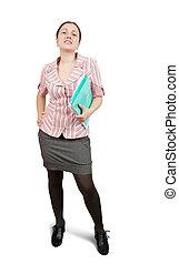 papier, büroordner, geschäftsfrau