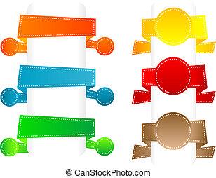 papier, banners., vecteur, ensemble, origami