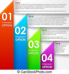 papier, bannière, options, infographics
