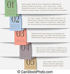 papier, bannières, horizontal, numéroté