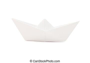 papier, bateau, fond, isolé, blanc