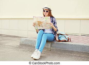papier, besichtigung, tourist, stadtlandkarte, frau, junger