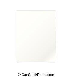 papier, biały, wektor, dokument, szablon
