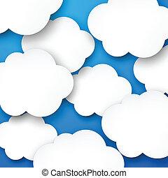 papier, biały zasępia, na, blue.
