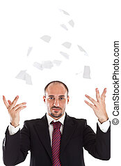 papier, biznesmen, płakanie, trowing