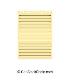 papier, blad, gele, aantekenboekje, lined
