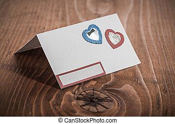 papier, blanc, bois, carte, invitation