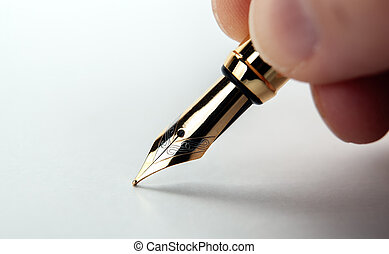papier, blanc, main, stylo, fontaine