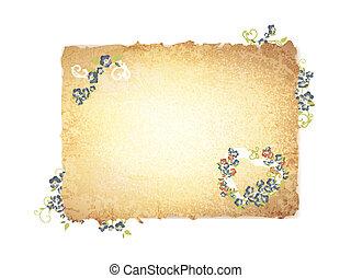papier, bloemen, aangebrand