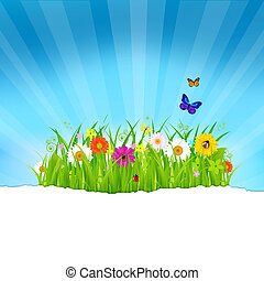papier, bloemen, gras, groene