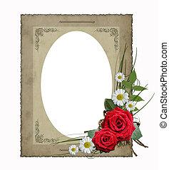 papier, bloemen, oud, vrijstaand, frame, ouderwetse