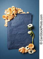 papier, bloemen, stuk, black
