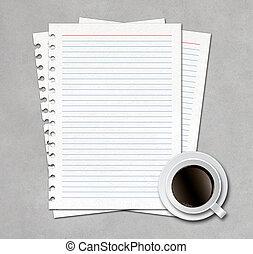 papier, bohnenkaffee, notizbuch, becher