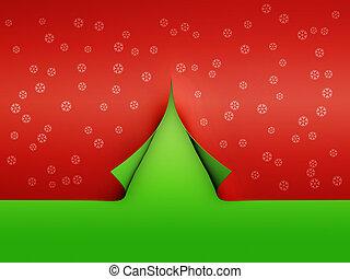 papier, boompje, kerstmis