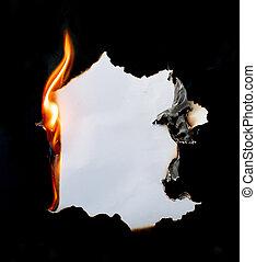 papier, brûlé