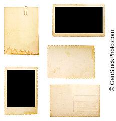 papier, brauner hintergrund, altes , merkzettel