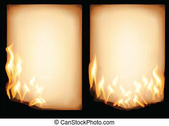 papier, brennender, altes