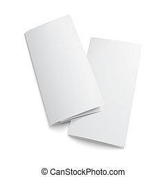 papier, brochure., leeg, trifold, paar