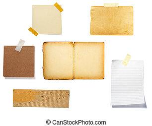 papier, bruine achtergrond, oud, aantekening
