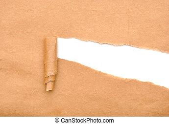 papier, bruine , gescheurd, verpakken