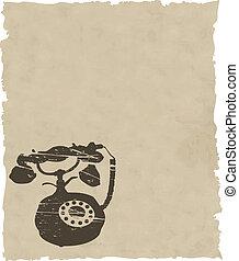 papier, bruine , vector, oud, telefoon