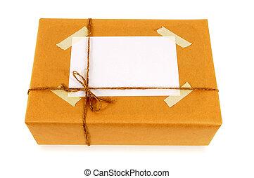 papier, brun, étiquette, adresse, paquet